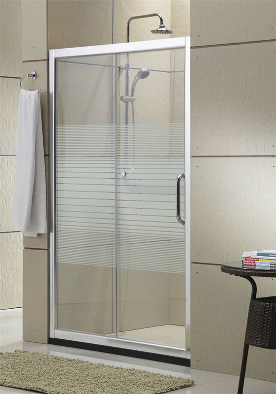 Brushed Silk Screen Printed Glass Shower Doors Aluminum Alloy With Stainless Steel Rollers For House / Apartment
