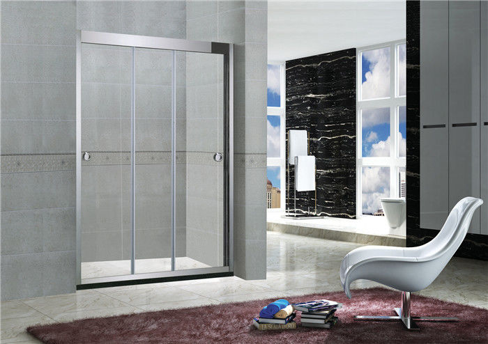 8MM / 10MM Stainless Steel Shower Doors Frameless Sliding With Artificial Stone Bottom