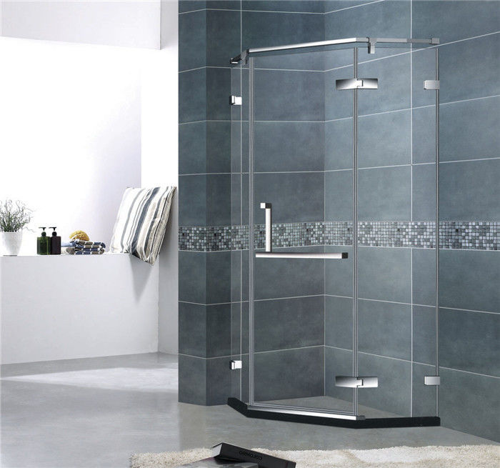 Diamond Shape Frameless Shower Enclosures Stainless Steel Hinge Mirror Color For Hotel