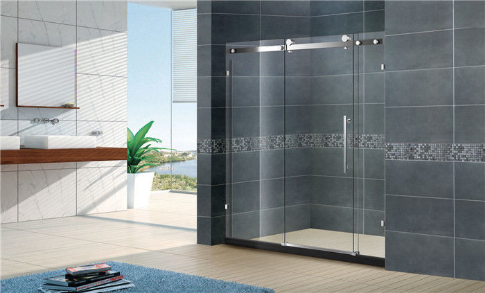 Frameless Sliding Door Shower Enclosure Satinless Bathroom With Big Hanging Rollers