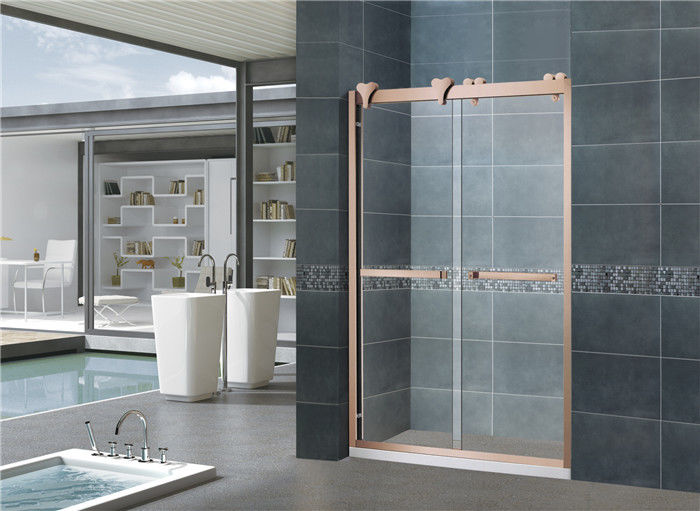 Rose Gold 10MM Frosted Nano Sliding Glass Shower Doors With Big Hanging Wheels