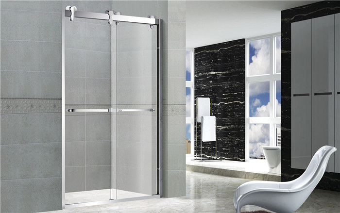 10mm Tempered Double Move Glass Shower Doors With CE certification Big Hanging Wheels Double Handles