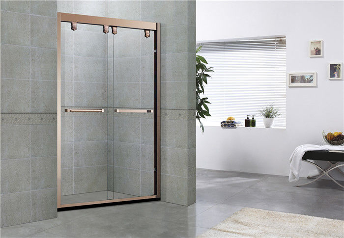 Rose Gold Double Moving Glass Shower Enclosures 8 / 10  MM Clear Tempered Glass for Home/ Hotel
