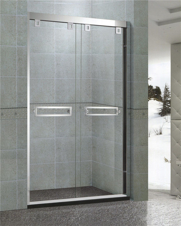 Mirror Finished Double sliding Glass Shower Doors With Stainless Double square Handles