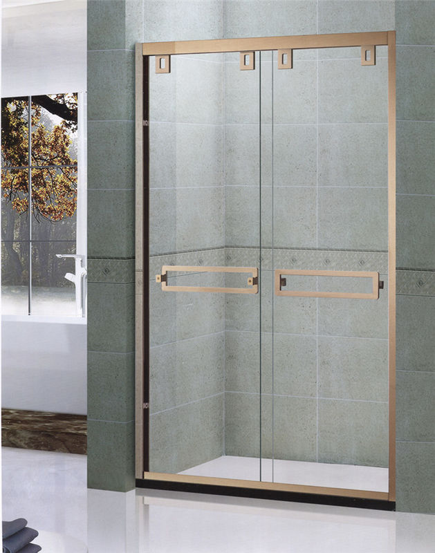 Rose Gold SGCC Certification Double Sliding Shower Enclosures With Double square Handles