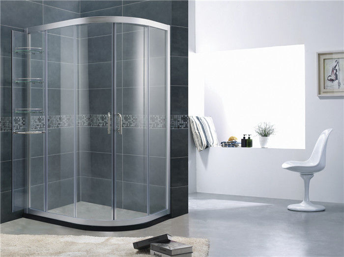 Movable Shelf D Shaped Glass Shower Door Sand Silver Aluminum Alloy For Apartment