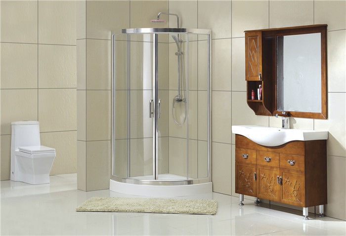 1900MM Height Chromed D Shaped Shower Partition Double Sliding Doors CE / SGCC