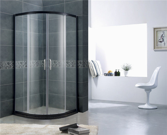 Black Aluminum Alloy D Shaped Shower Enclosure 6 / 8 mm Glass With SGCC Certification