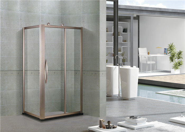 Rose Gold Full Aluminum Alloy Rectangular Shower Cubicles With Octagonal Wheel
