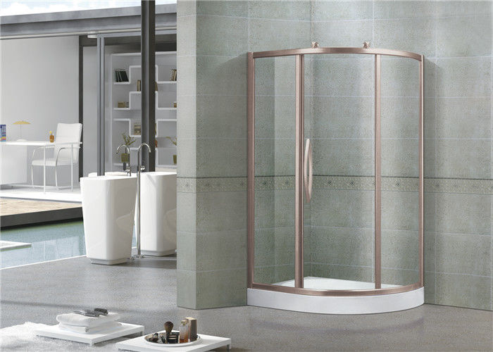 Offset Quadrant 6 MM Glass Shower Screens Rose Gold Aluminum Alloy Profiles Sliding Door