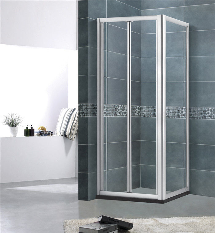 More Entrance Space Aluminum Alloy  Shower  Screen Square 5MM Framed  Bright / Matte Silver