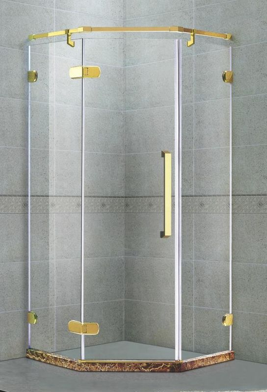 Golden Diamond Shape Frameless Shower Door  Hinged 8MM 135 Degree Magnetic Seals