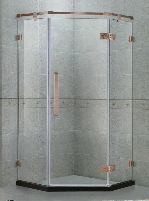 135 Degree Stainlees Steel Hinge Shower Enclosures Swing Red Bronze Support Bar For Apartment