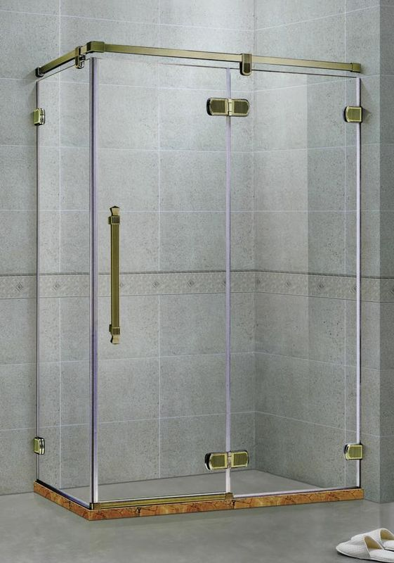 Green Bronze Frameless Hinged Shower Doors Two Fixed Panels  Rectangle Stainless Support Bar