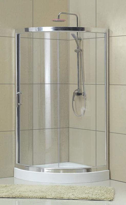 Portable Sliding D Shaped Shower Enclosure Clear Tempered Glass One Moving Door