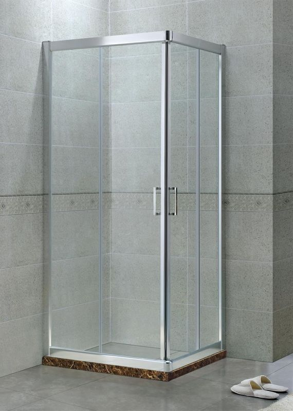Corner Square 6 / 8 MM Tempered Glass Shower Enclosures Aluminum Alloy CE Certification