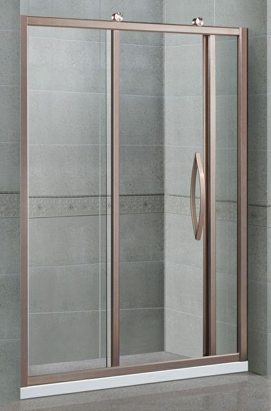 Inline Two Fixed Glass Shower Cubicles Rose Golden With Aluminum Alloy Outside Wheels