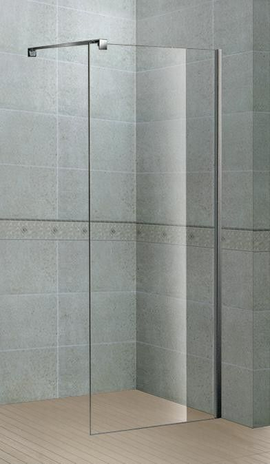 Simple 6 / 8 MM Walk In Shower Screens with Stainless Steel Support Bar and Aluminum Alloy Frames