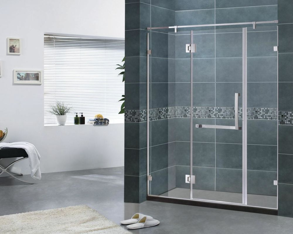 Customized Three Side Frameless Hinged Shower Door 6MM Clear Glass CE Certification