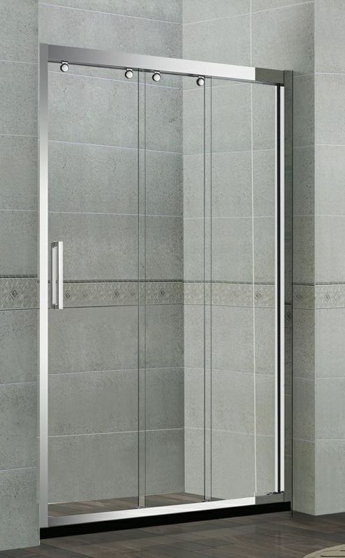 Linkage Moving Stainless Steel Shower Screens One Fixed and Two Sliding Doors CE Certification