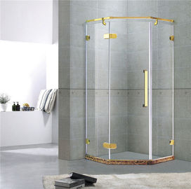 Le type d'or compartiments Frameless de diamant de douche a articulé le CE de verre trempé de 10MM/EN12150